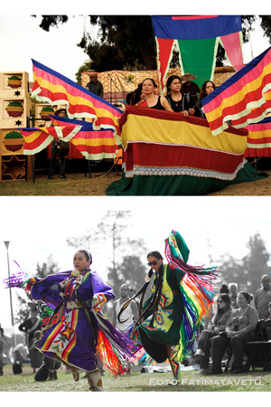 (Top) Bangka Canoe Journeys offering,  (bottom) Fancy Dancers moving to the beats of All Nation's Drum