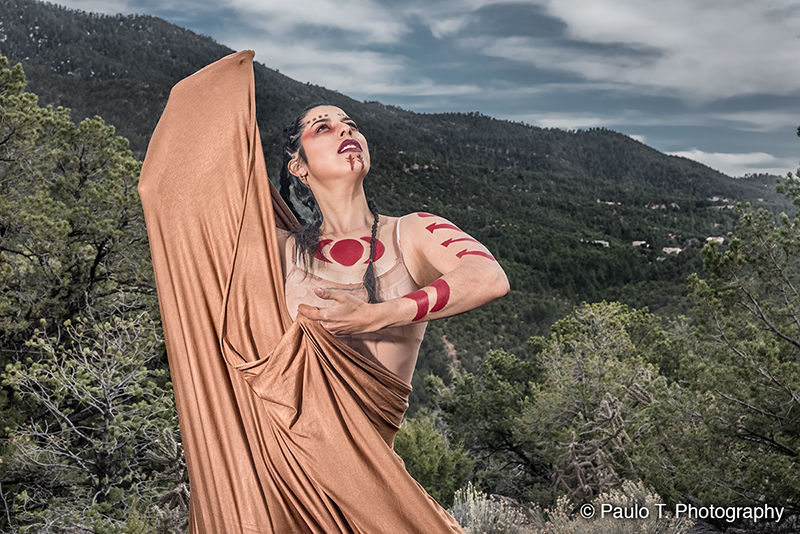 Dancer Lupita Salazar in the mountains of Northern New Mexico. photo © Paulo T. Photography